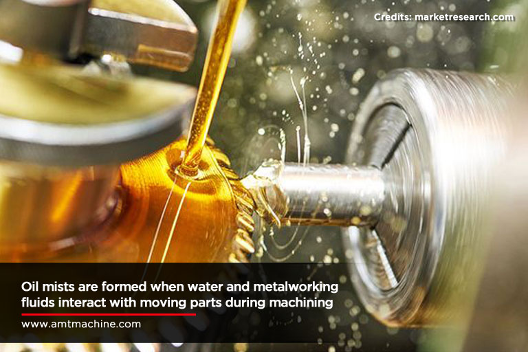 Oil mists are formed when water and metalworking fluids interact with moving parts during machining