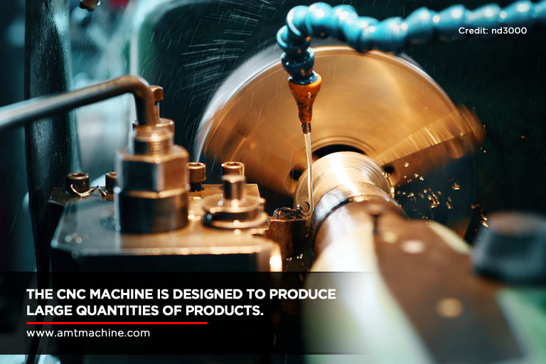 The CNC machine is designed to produce large quantities of products.